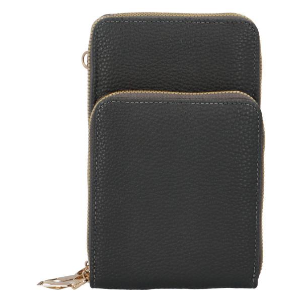 Koženková crossbody-peněženka Duo, šedá