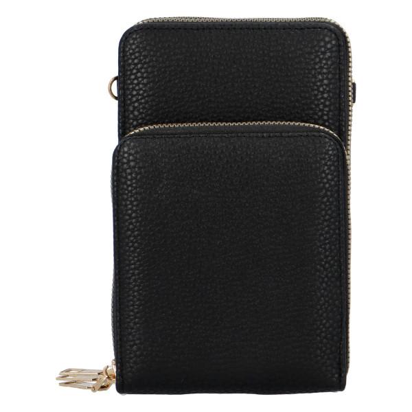 Koženková crossbody-peněženka Duo, černá