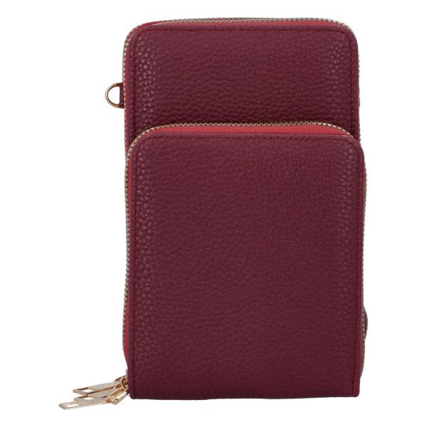 Koženková crossbody-peněženka Duo, vínová