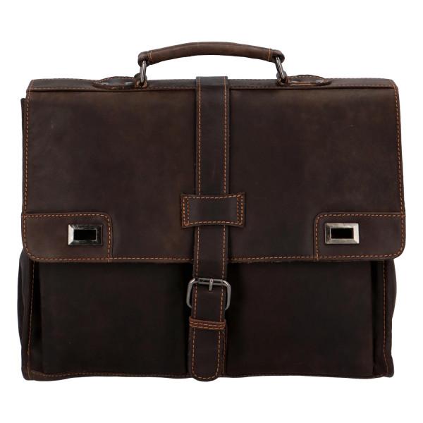 Pánská kožená pracovní taška Ernst, tmavě hnědá