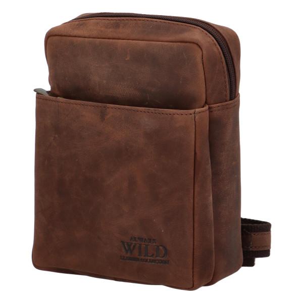 Pánská kožená taška přes rameno Fikus, tmavě hnědá