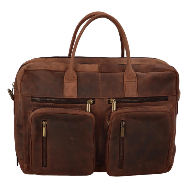 Pánská kožená pracovní taška s kapsami, hnědá