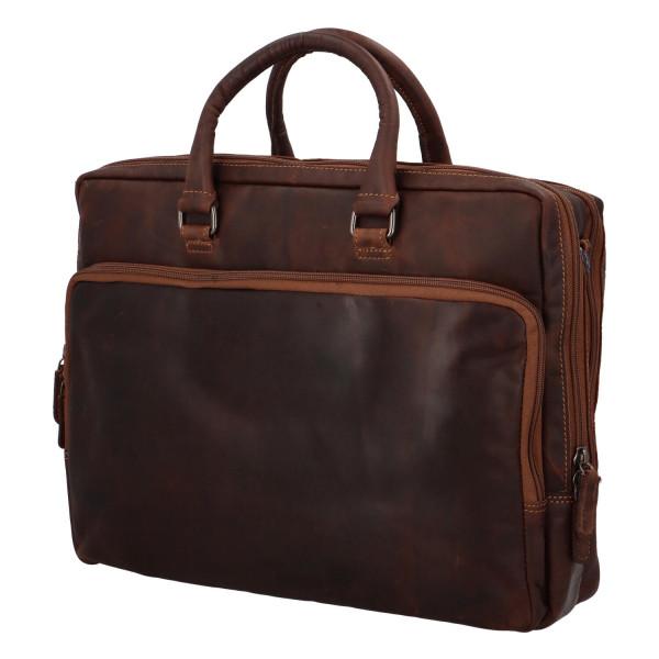 Luxusní kožená business taška Seny, khaki