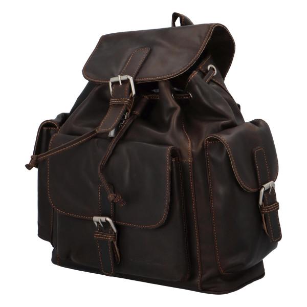 Kožený batůžek Leslie, tmavě hnědý