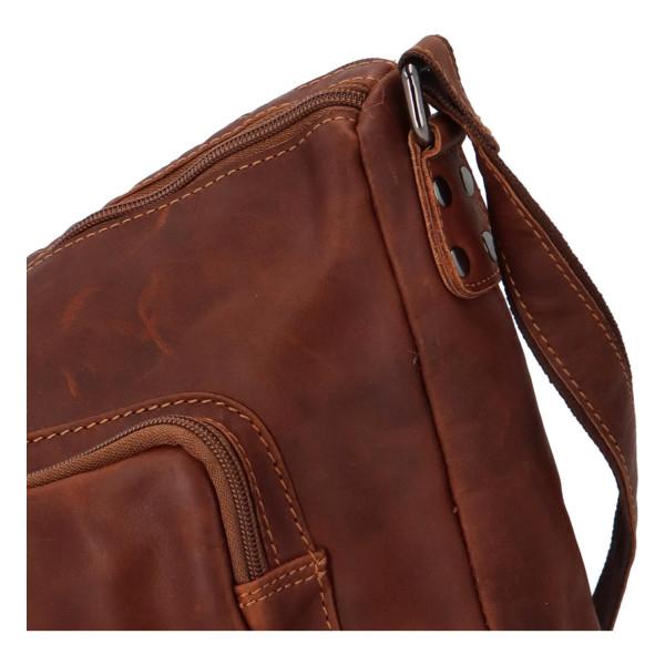 Praktická kožená taška Maximin GW, hnědá
