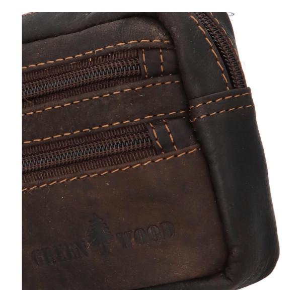 Kožená malá taška na doklady GW Rendy, tmavě hnědá