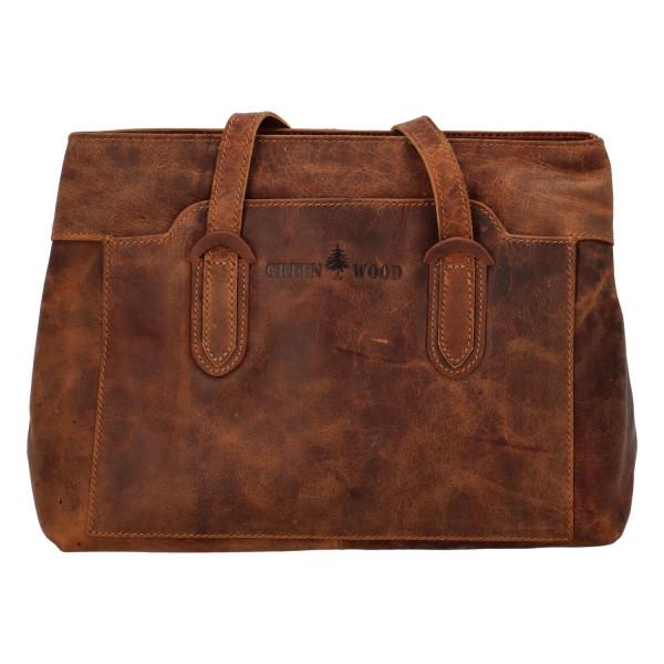 Luxusní kožená kabelka Ela, světle hnědá
