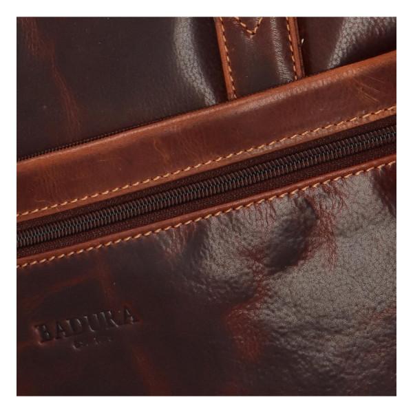 Kožená business taška na laptop Juka, hnědá
