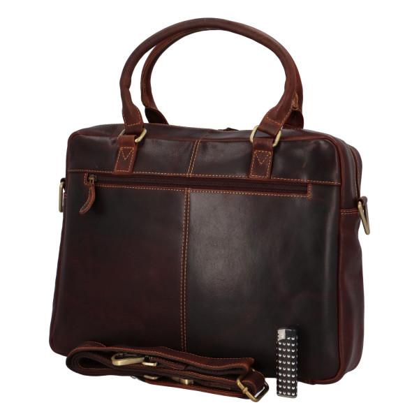 Prostorná kožená business taška Eduardo, hnědá