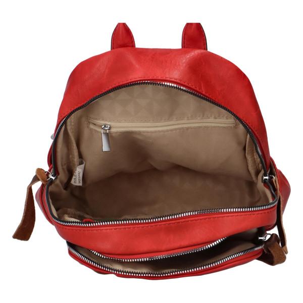 Stylový koženkový batůžek Fredy, červený