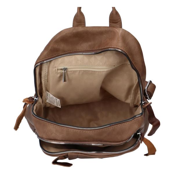 Stylový koženkový batůžek Fredy, světle hnědý