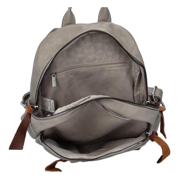 Stylový koženkový batůžek Fredy, šedý