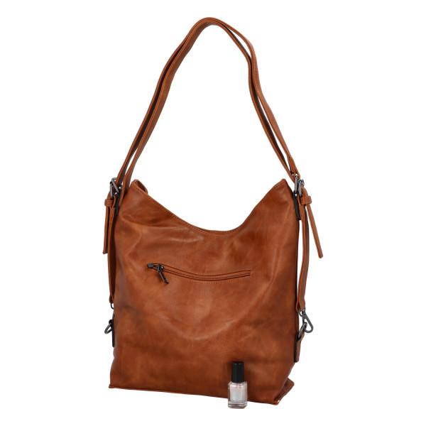 Praktický kabelko-batoh s kapsičkou Jitka, hnědý