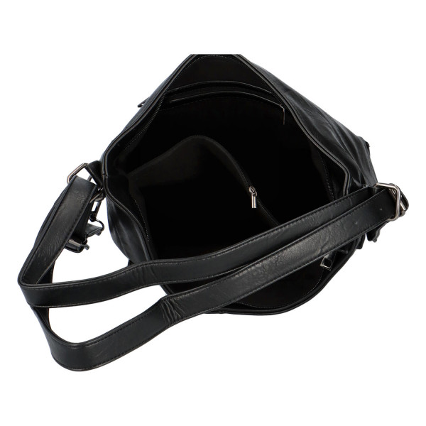 Praktický kabelko-batoh s kapsičkou Jitka, černý