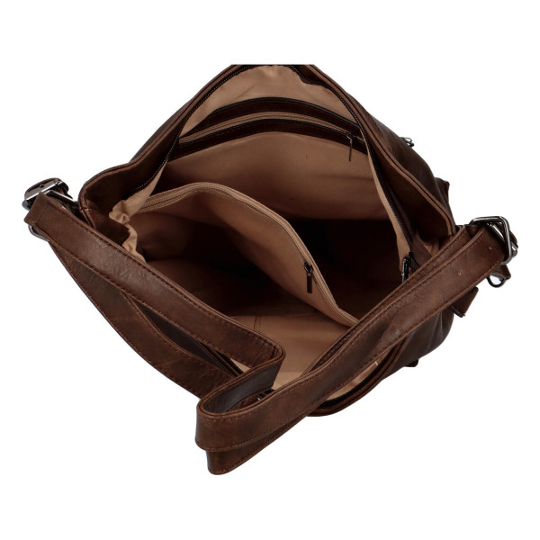 Praktický kabelko-batoh s kapsičkou Jitka, tmavě hnědý