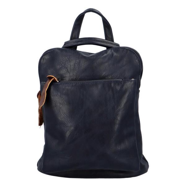 Prostorný koženkový batoh Karel, tmavě modrý