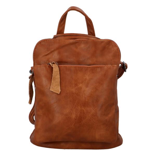 Prostorný koženkový batoh Karel, světle hnědý