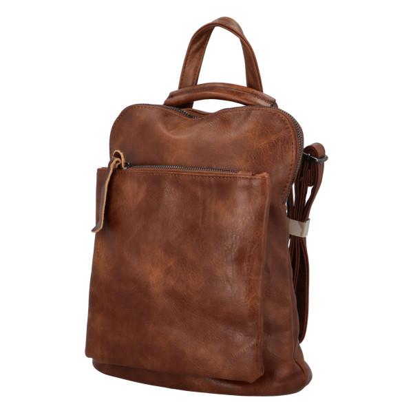 Prostorný koženkový batoh Karel, tmavě hnědý
