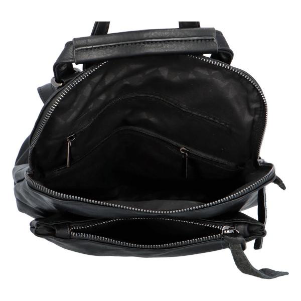 Prostorný koženkový batoh Karel, černý