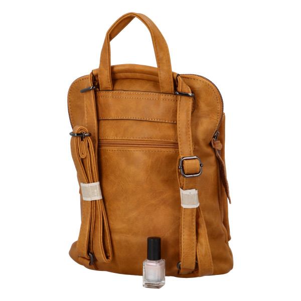 Prostorný koženkový batoh Karel, žlutý