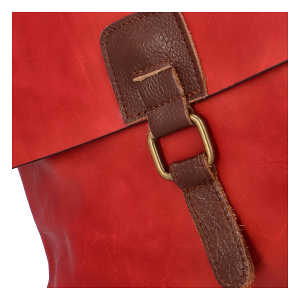 Koženková crossbody s klopou Lora, červená