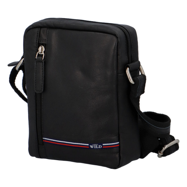 Kožená taška přes rameno Isák, černá