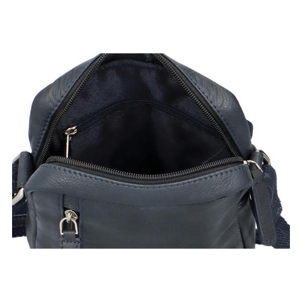Kožená taška přes rameno Isák, modrá