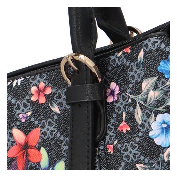 Krásná dámská kabelka s květinami, černá