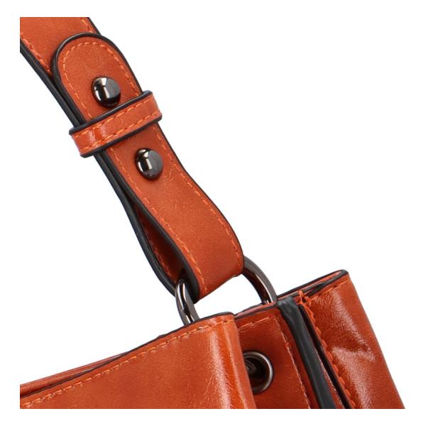 Elegantní dámská kabelka do ruky Aries, koňakově hnědá