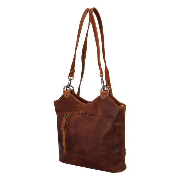 Luxusní kožený kabelko-batoh Green Wood Frederika, světle hnědá