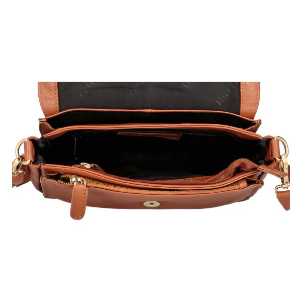 Luxusní kožená crossbody Fres, hnědá