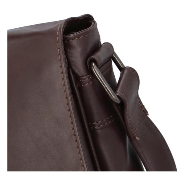 Kožená taška s klopou Damián, hnědá
