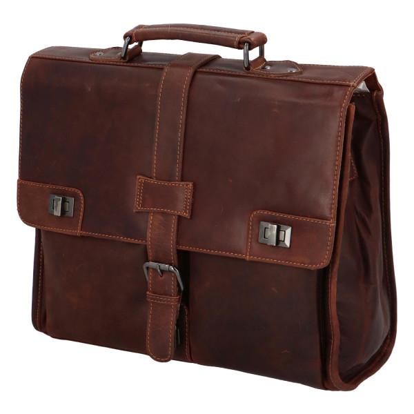 Pánská kožená pracovní taška Wally, hnědá