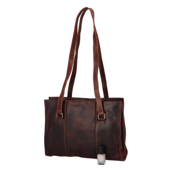 Kožená dámská kabelka Bill, hnědá