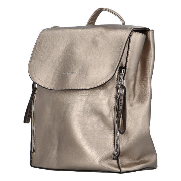 Koženkový batůžek Ellie, stříbrný