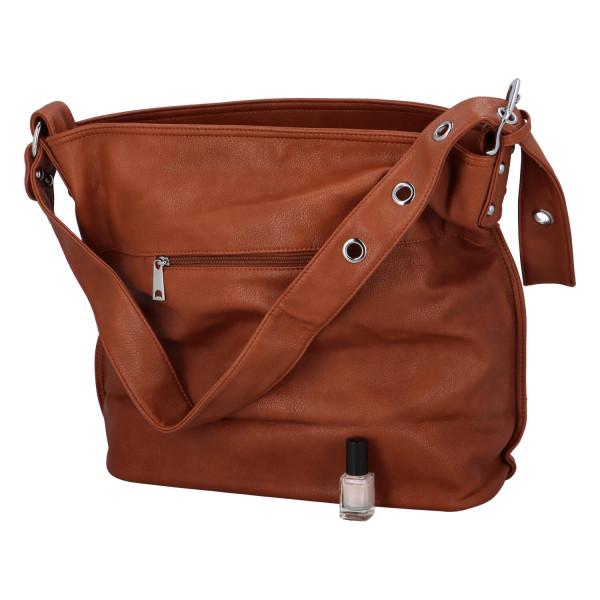 Praktická jednoduchá  kabelka Kornelie, hnědá