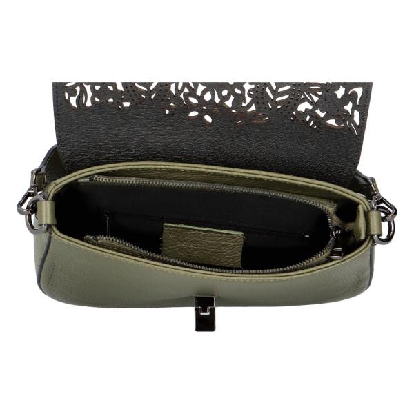 Luxusní dámská kožená kabelka Gladis, zelená