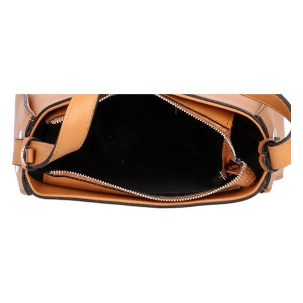 Stylová kožená kabelka Dorota, koňakově hnědá