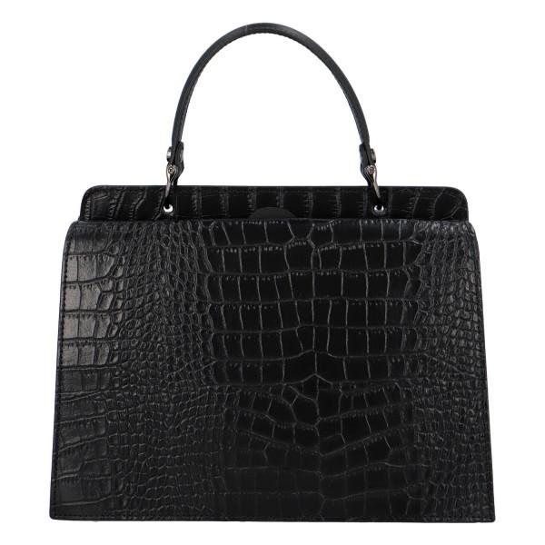 Pevná kožená kabelka do ruky s krokodýlím vzorem Fina, černá