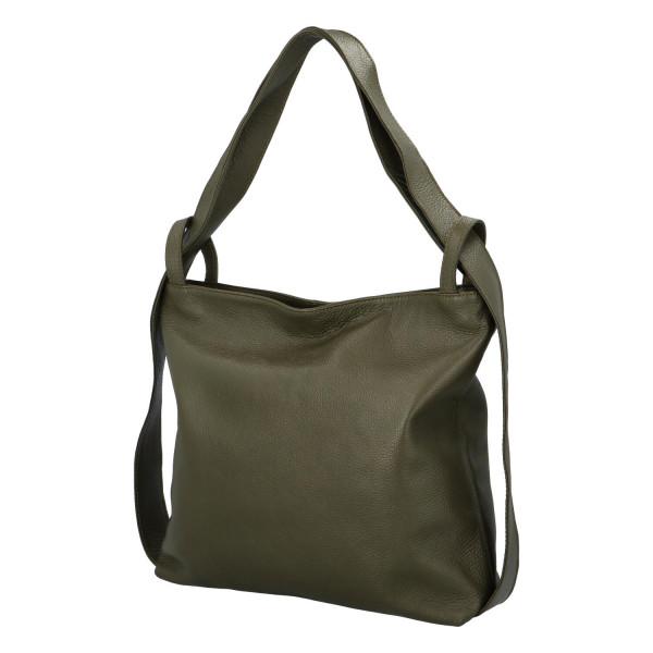 Prostorná dámská kožená kabelka Becky, tmavě zelená