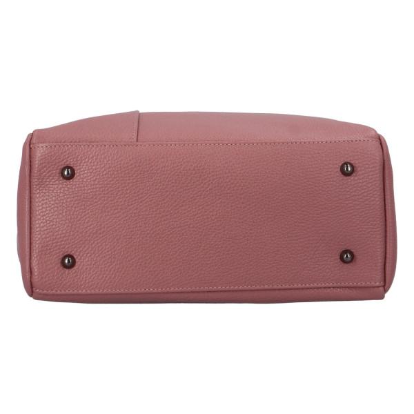Krásná, nadčasová kožená kabelka Ines, růžová