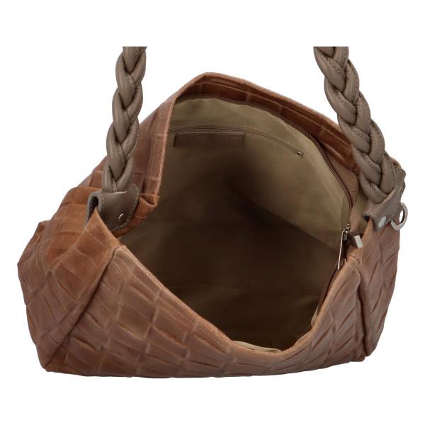 Stylová dámská kožená kabelka Juni, hnědá