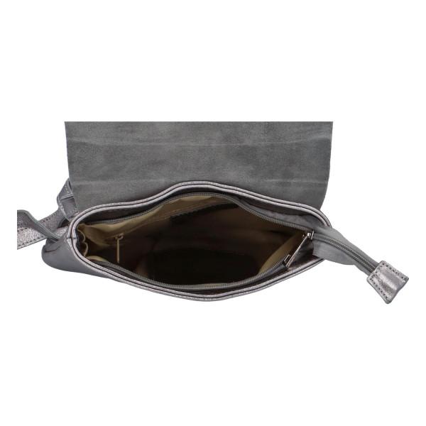 Dámský kožený batůžek Quido, stříbrný