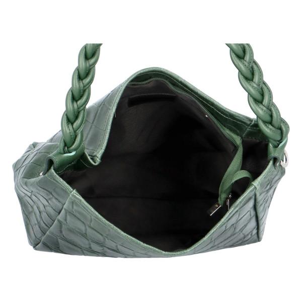 Stylová dámská kožená kabelka Juni, zelená