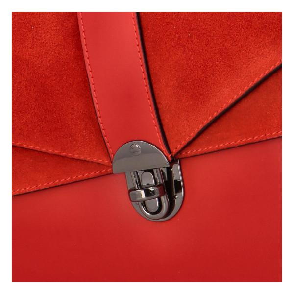 Luxusní dámská kabelka do ruky se semišovou klopou Daisy, červená