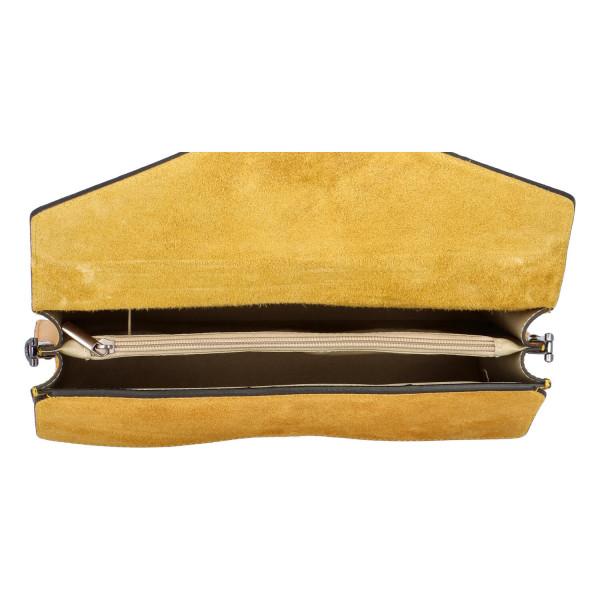 Luxusní dámská kabelka do ruky se semišovou klopou Daisy, žlutá