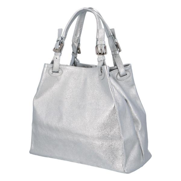 Třpytivá dámská kabelka Leia do ruky, stříbrná