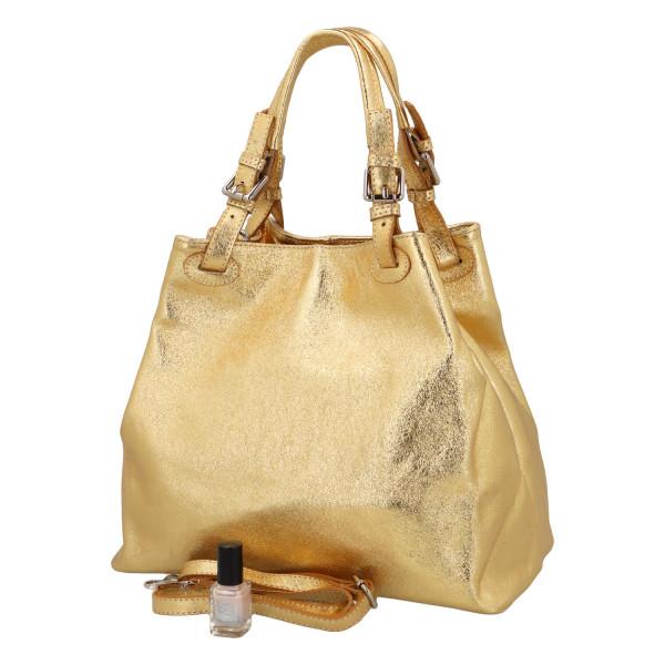 Třpytivá dámská kabelka Leia do ruky, zlatá