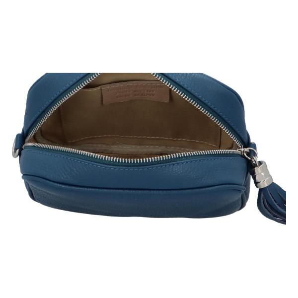 Trendy dámská kožená kabelka Melanie, modrá