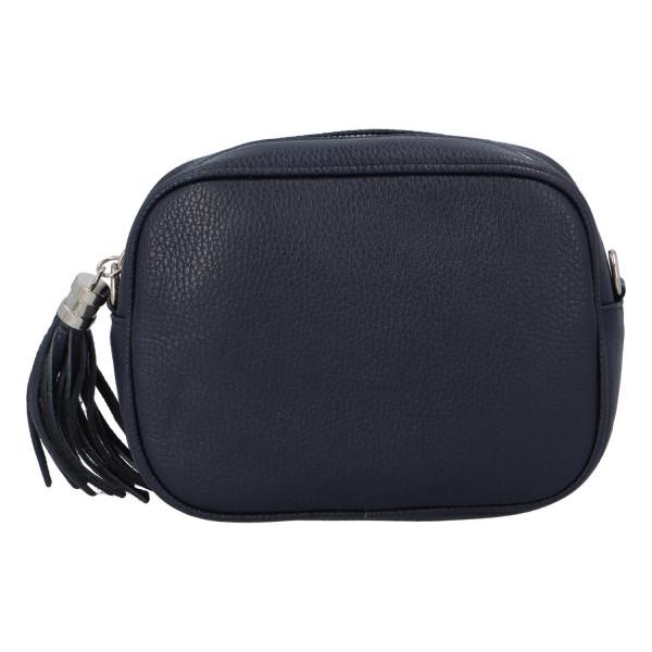 Trendy dámská kožená kabelka Melanie, tmavě modrá